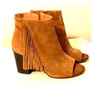 Kenneth Cole camel fringe open toe booties